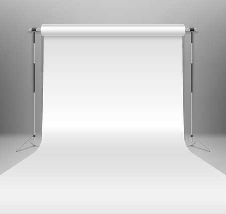 Realistic empty white photo studio backdrop template. photographer studio backdrop stand with white paper on Gray background. Vector illustration EPS 10 Illusztráció