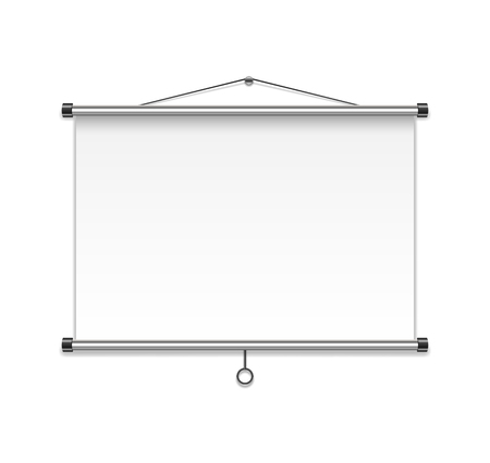Meeting Projector Screen isolated on white wall. Realistic Blank Board or Presentation Display. vector Illustration EPS 10 Illusztráció
