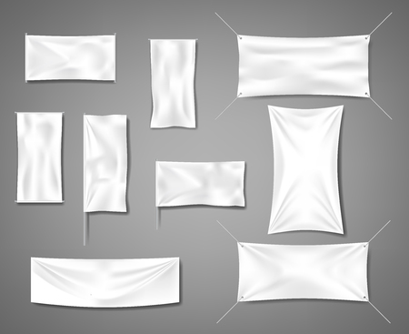 White fabric blank textile banners for advertising with folds. Cotton empty smooth flag poster or placard templates set. Vector illustration EPS 10