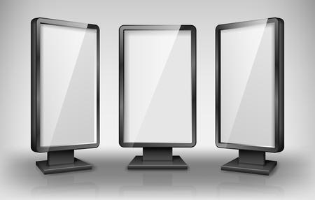 Blank light box template. Street 3d Retail lighting billboards. Realistic lightbox screen for advertising and design. vector illustration EPS 10