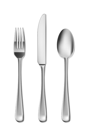 Steel Cutlery, knife, fork and spoon in realistic style. Fork and knife spoonset design isolated on white. Vector illustration EPS 10