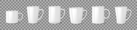 Realistic blank white coffee mug cups on transparent background. Cup template mockup isolated. teacup for breakfast. Vector illustration EPS 10 Illusztráció