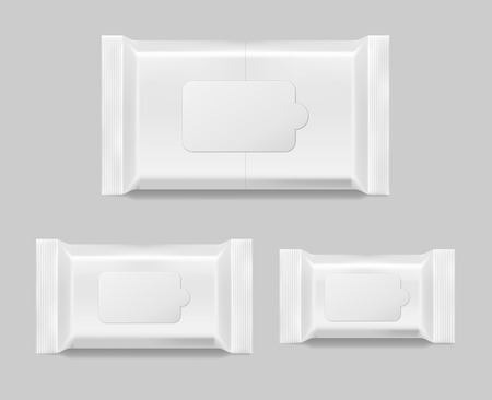 Set of wet wipes napkins template isolated. White wet wipes blank package. Vector illustration EPS 10