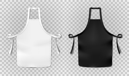 White and black kitchen chef apron isolated on transparent background. Protective realistic apron for cooking or baker. vector illustration EPS 10 Illusztráció