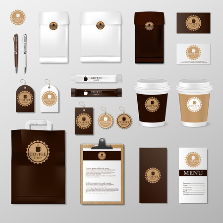 Realistic set mock up template for coffee shop or restaurant. Coffee card, menu, cup, paper pack, packaging design for corporate branding identity, vector