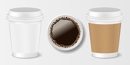 Set of Realistic paper take-out coffee cup. 3d paper mug for coffee, front and top view. Vector illustration EPS 10