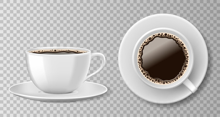 Realistic coffee cup top view isolated on transparent background. White blank mug with black coffee and saucer. Vector illustration Ilustrace