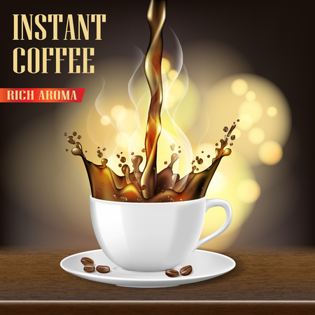 Aroma black Arabica coffee cup and beans ads design. 3d illustration of hot coffee mug Product on blurred background. Vector
