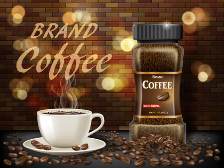 Black Arabica coffee cup with beans ads. 3d illustration of hot coffee mug. Product retro design with bokeh and brick background. Vector EPS 10