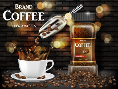 Black coffee cup with splash and beans ads. 3d illustration of hot coffee mug. Product retro design with bokeh and brick background. Vector EPS 10 Illusztráció