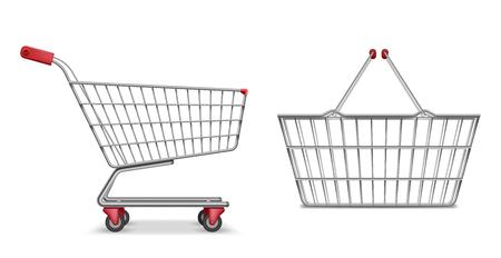Empty metallic supermarket shopping cart side view isolated. Realistic supermarket basket, retail pushcart vector illustration Stockfoto