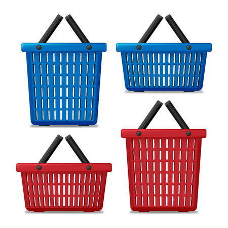 Set of Red and blue Empty Laundry Basket isolated. Basket to wash with washing machine. Vector Illustration