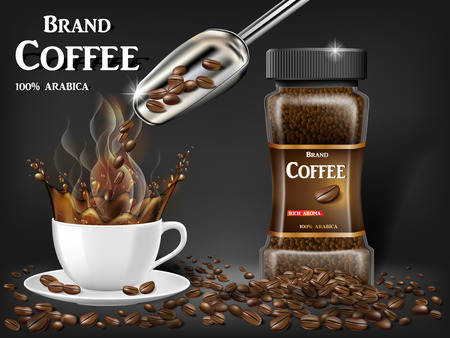 Black instant coffee cup with splash and beans ads. 3d illustration of hot coffee mug. Product design with bokeh background. Vector