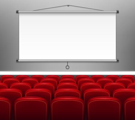 Beamerleinwand mit roten Sitzen für die Präsentation. Weißes leeres Display für Meetings, Schulungspersonal, Bericht, Business School. Vektor-Illustration EPS 10 Vektorgrafik