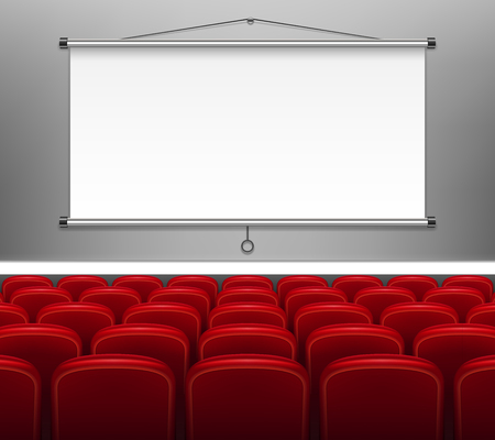 Projector screen with red seats for presentation. White empty Display for meeting, training staff, report, business school. vector illustration EPS 10
