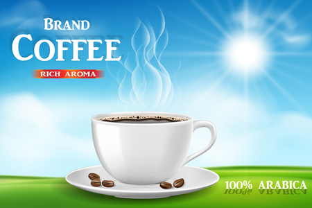 Instant coffee ad, with coffee cup on sunny morning and green grass background, Product black coffee design with bokeh. 3d illustration EPS 10
