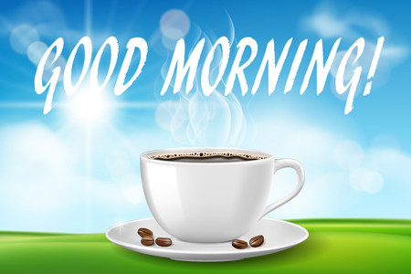 Good morning beautiful day with coffee cup. Sunny morning with hot drink on green grass on blue sky background. vector illustration EPS 10