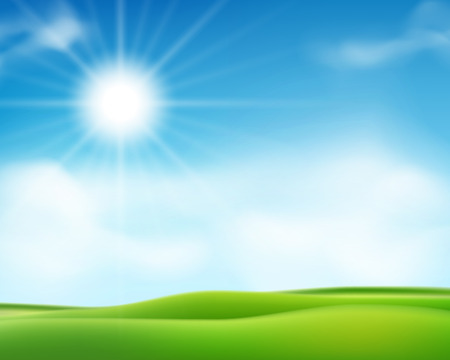 Summer or spring sunny morning background with blue sky and shiny sun. Sunny day poster design. Vector illustration EPS 10