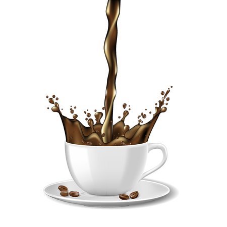 Black instant coffee cup and beans ads design. Hot coffee mug with splash isolated on white. Vector 3d illustration Ilustrace