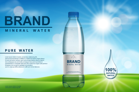 Mineral water ad, plastic bottle with pure mineral liquid on sunny background. Transparent Drinking water Bottle design. 3d vector illustration EPS 10 Illusztráció