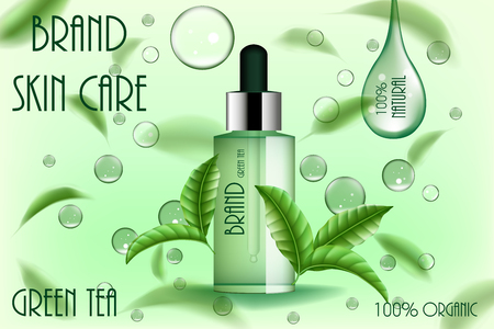 Moisturizing cosmetic ads template. Green tea skin care serum or pure essence with flying tea leaves and water drop. 3d cosmetic product design illustration