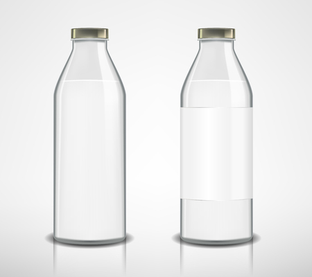 Set of glass bottles with milk isolated. Milk bottle in realistic style. Package mockup design ready for branding. vector illustration Ilustrace