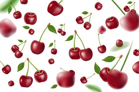 Falling realistic ripe cherry elements. Realistic cherry with leaves background isolated on white. 3d Vector illustration EPS 10 Illusztráció