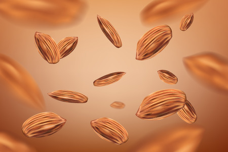 Realistic flying almonds background. Template with almonds for packaging design. vector illustration