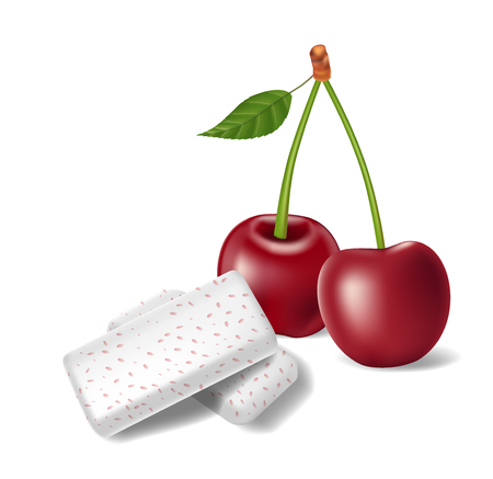 Chewing gum with red cherry isolated. Bubble gums for healthy teeth and fresh breathing. template design for dental hygiene. Vector 3d illustration