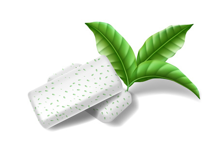 Chewing pads gum with mint leaves isolated. Bubble gums for healthy teeth and fresh breathing. template design for dental hygiene. Vector 3d illustration
