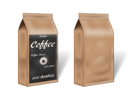 paper arabica coffee package design mock up. empty coffee template packaging in vintage style. 3d vector illustration