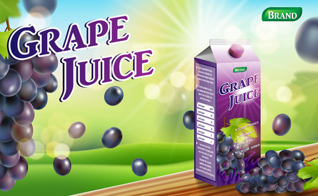 Paper carton grape juice package on wooden table. fruit juice container package ad. 3d realistic grape Vector illustration for your design