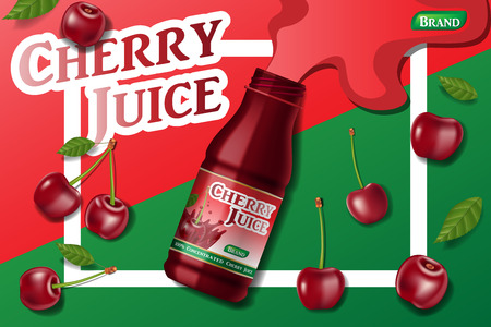 Cherry fresh juice advertising. Juice container package ad isolated. 3d realistic ripe cherry Vector illustration for your design EPS 10 Stock Illustratie