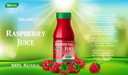 Raspberry juice bottle on green grass. fruit juice container package ad. 3d realistic summer ripe raspberry cocktail. Vector illustration EPS 10