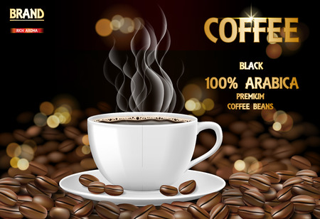 Arabica coffee cup with smoke and beans ads. 3d illustration of hot arabica coffee mug. Product package design background. Vector EPS 10