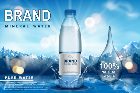 Pure sparkling water ad, plastic bottle with splash on snow with mountain background. Transparent Drinking water liquid Bottle design. 3d vector EPS 10