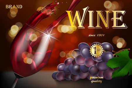 Wine advertising banner, glass bottle with grape on red background with golden text. Transparent wine glass with splash for restaurant design. 3d vector illustration.
