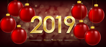 Happy New Year 2019 greeting card. New Year Winter banner with gold text and shiny balls. Red sparkling glitter bauble. Vector illustration EPS 10