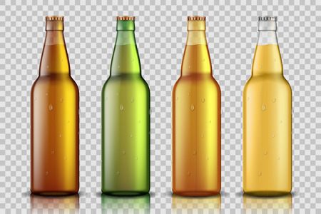 Set of Realistic glass beer bottle with liquid isolated on transparent background. blank beer bottle Mock up template for product package. Vector illustration EPS 10