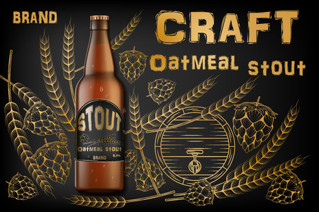 Craft oatmeal stout beer ads. Realistic malt bottle beer isolated on retro background with ingredients wheats, hops and barrel. Vector 3d illustration Stock Illustratie