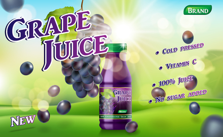 Grape juice bottle with sunny background on green grass. Juice container package ad. 3d realistic grape Vector illustration for your design EPS 10