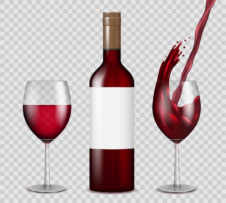 Transparent wine bottle and wineglasses mockup. red wine splash in bottle and glasses isolated. Vector illustration EPS 10