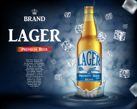 Craft lager beer ads with splashing. Realistic glass beer bottle with flying ice cubes on shiny blue background. Vector 3d illustration EPS 10