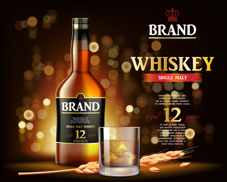 Whiskey Drink ads with ice coube design. Realistic glass whiskey bottle on shiny gold background. Vector 3d illustration