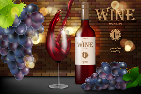 Red wine ad, glass bottle with grape on brick background, retro style design. Transparent wine glass with splash for restaurant menu. 3d vector illustration.