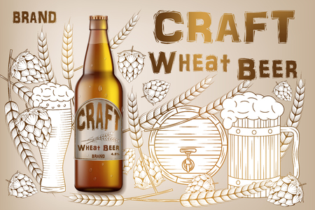 Craft wheat beer ads design. Realistic malt bottle beer isolated on retro background with ingredients wheats, hops and barrel. Vector 3d illustration Ilustrace