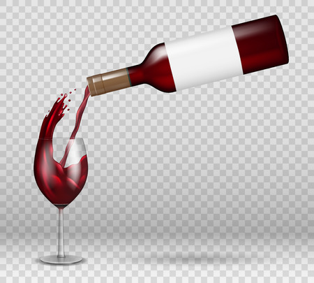 Transparent wine bottle and wineglass mockup with reflection. red wine liquid pouring down with splash in glass isolated. alcohol drink with drops Vector illustration EPS 10