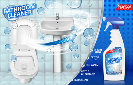 Bathroom cleaners ad poster, spray bottle mockup with liquid soap detergent for bathroom sink and toilet with bubbles. 3d Vector illustration EPS 10 Vector Illustration
