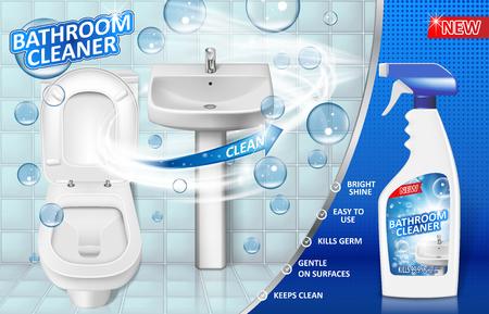 Werbeplakat für Badreiniger, Sprühflaschenmodell mit Flüssigseifenwaschmittel für Waschbecken und Toilette mit Blasen. 3D-Vektor-Illustration EPS 10 Vektorgrafik