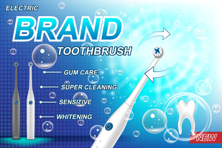 Electric toothbrush ads concept. Tooth model and product package design for poster advertising and marketing. 3d Vector toothbrush illustration EPS 10